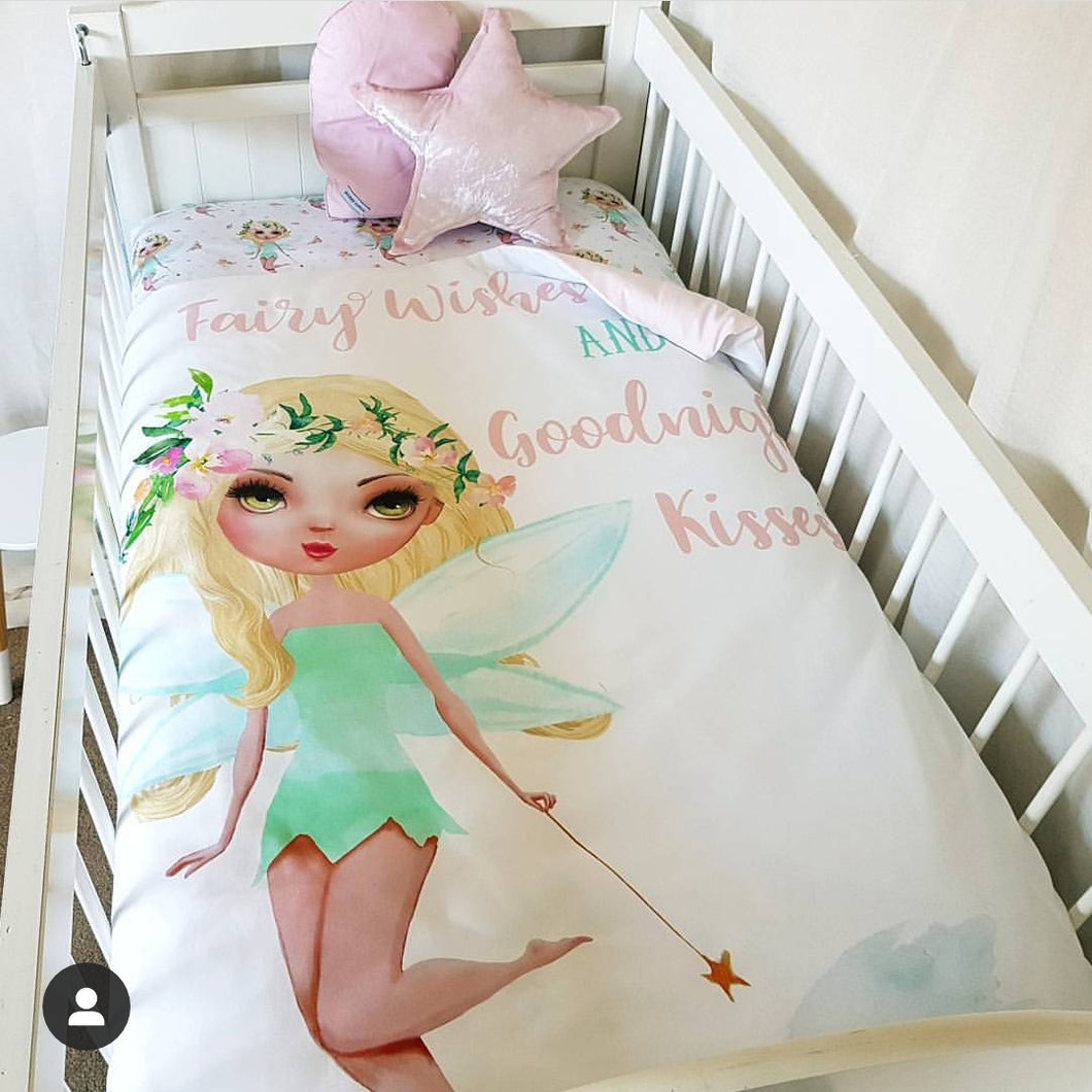 Cot Quilt - Fairy Wishes & Goodnight Kisses