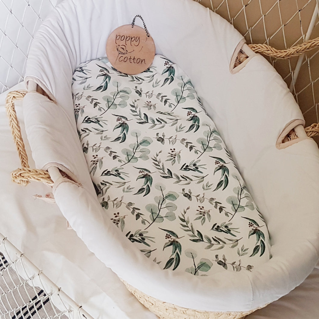 Moses Basket Sheet fitted eucalyptus leaves made in Australia