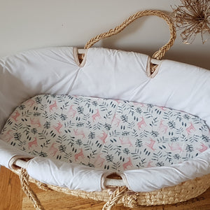Fitted Moses Basket Sheet - Pink Deer