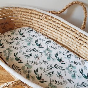 Fitted Moses Basket Sheet - Eucalyptus Leaves