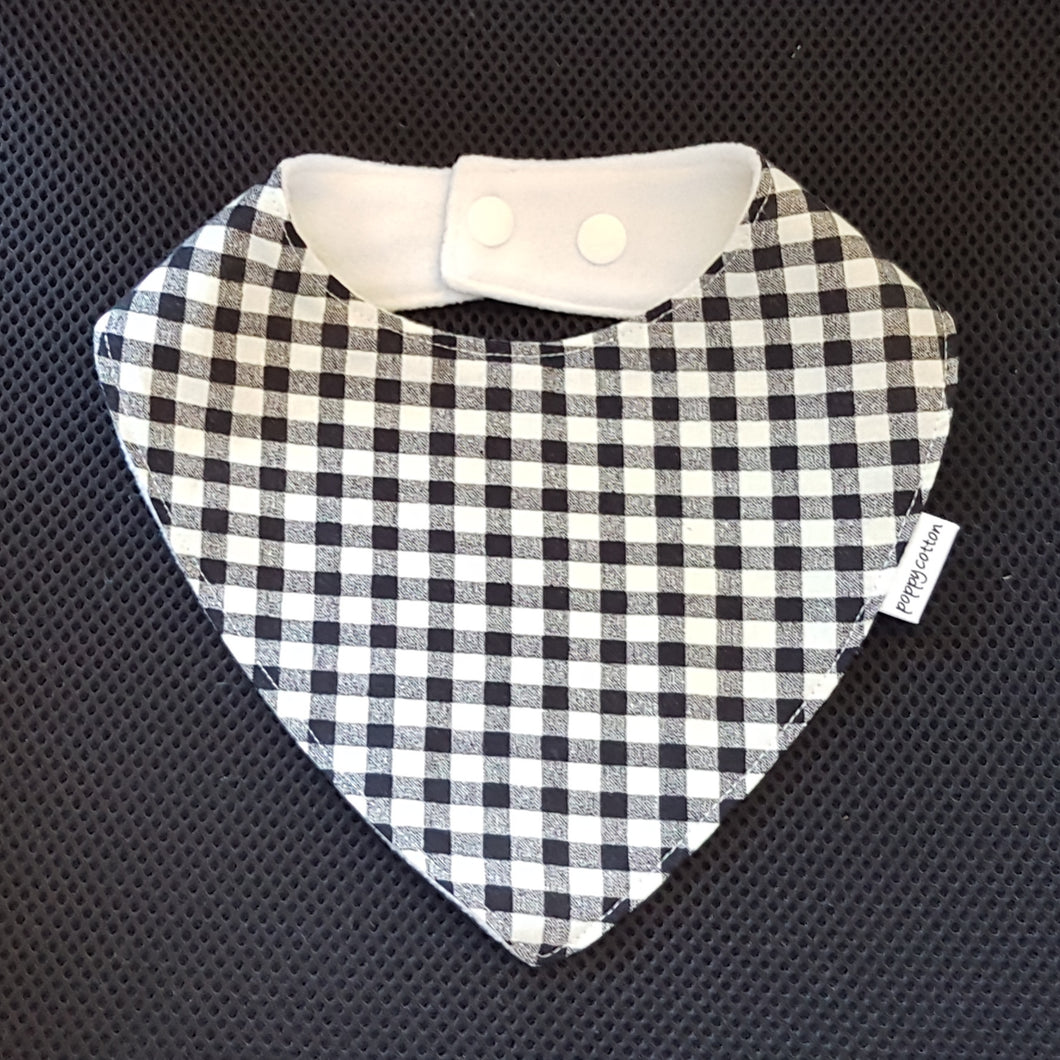 Dribble Bib - Black and White Gingham