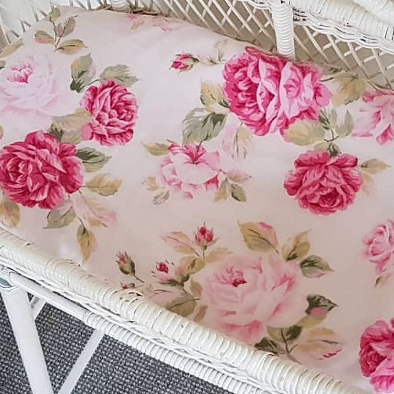 Vintage Fitted Moses Basket Sheet - Peonies