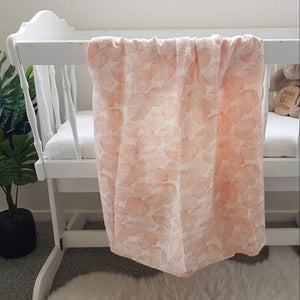 Organic Cotton Double Gauze Wrap - Peach Monstera