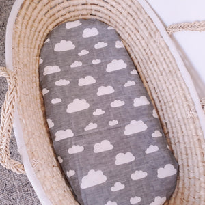 Fitted Moses Basket Sheet - White Clouds on Grey
