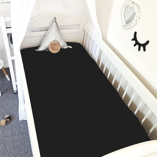 Fitted Cot Sheet ~ Black