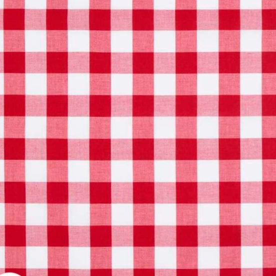 Fitted Cot Sheet - Gingham - Red