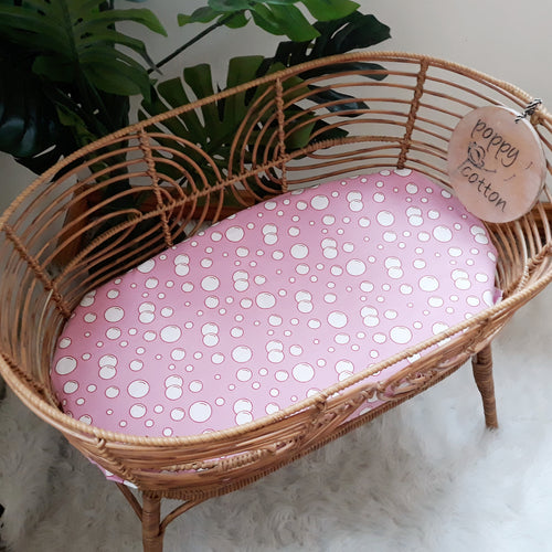 DOLLS BASSINET FITTED SHEET - PINK BUBBLES