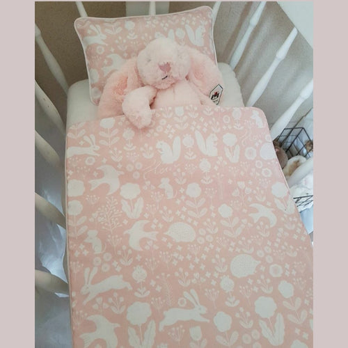 Dolls Cot Bedding Set - Woodland Blush