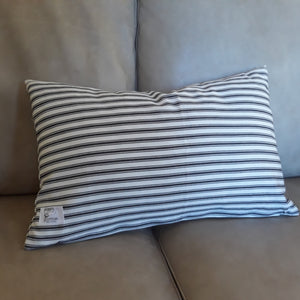 Black Ticking Stripe Lumbar Pillow