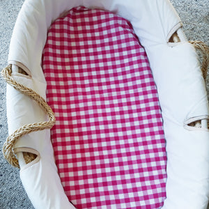 Fitted Moses Basket Sheet - Fuchsia Pink Gingham