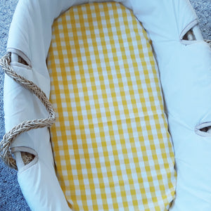 Fitted Moses Basket Sheet - Yellow Gingham