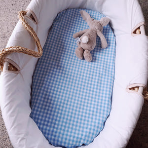 Fitted Moses Basket Sheet - Blue Gingham