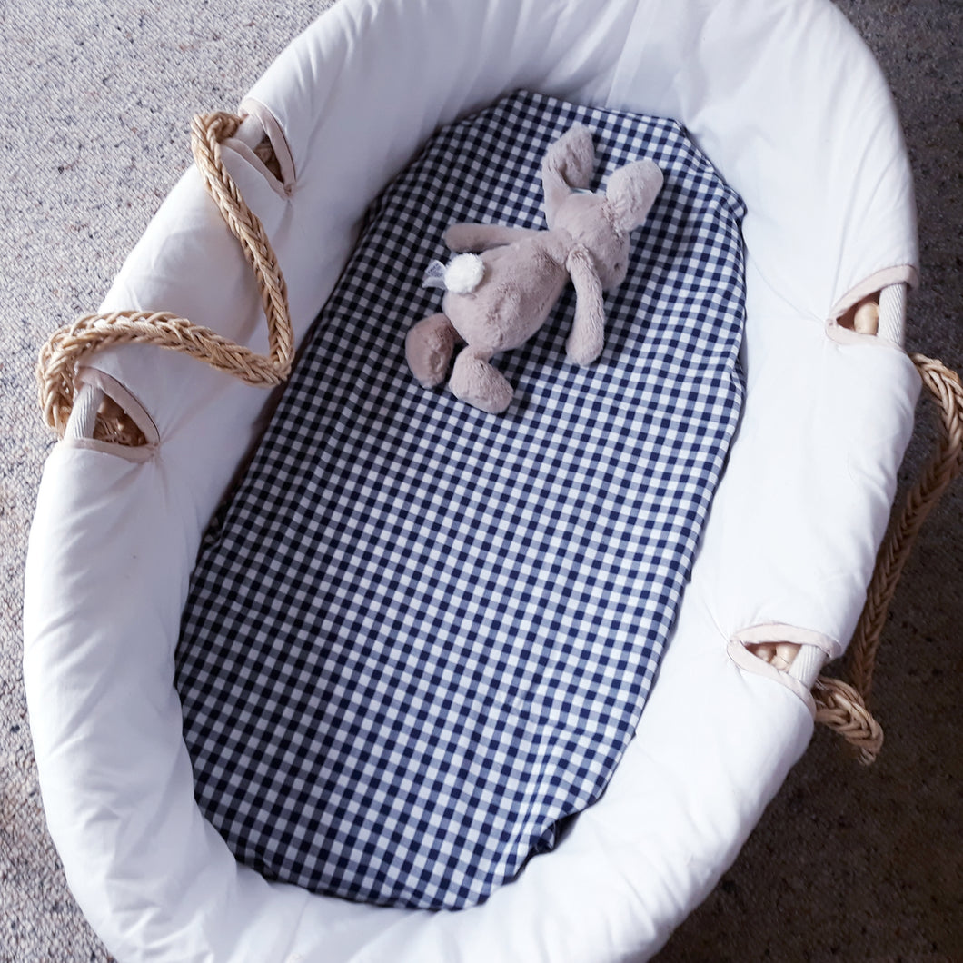 Fitted Moses Basket Sheet - Navy Gingham