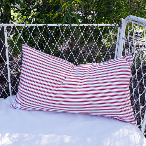 Red Ticking Stripe Lumbar Pillow