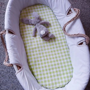 Fitted Moses Basket Sheet - Green Gingham