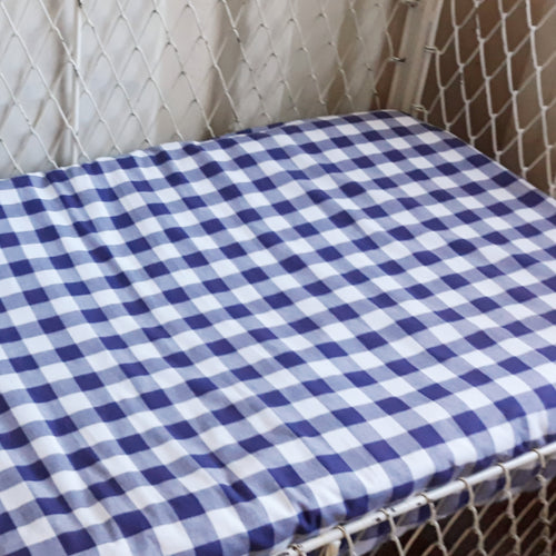 Fitted Cot Sheet - Gingham - Navy
