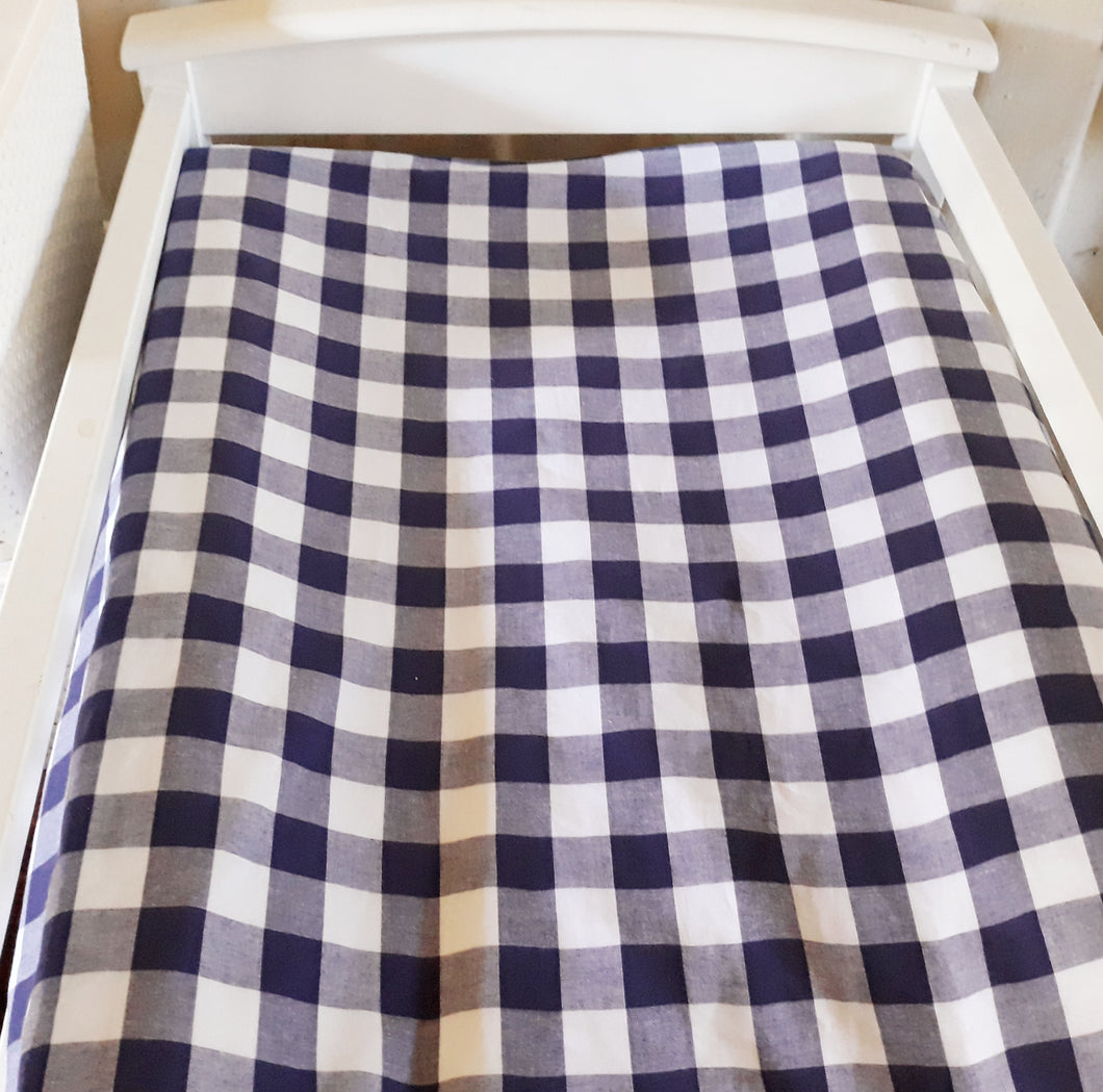 Change Mat Cover / Bassinet Sheet- Navy Gingham Check