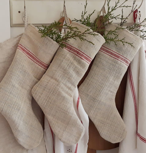 Vintage French Grainsack Christmas Stocking