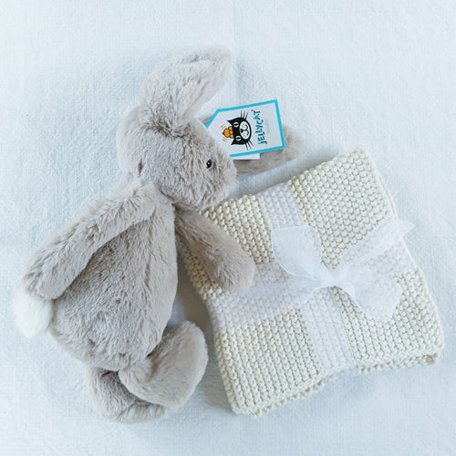 Jellycat Bunny & Knitted Face Cloth