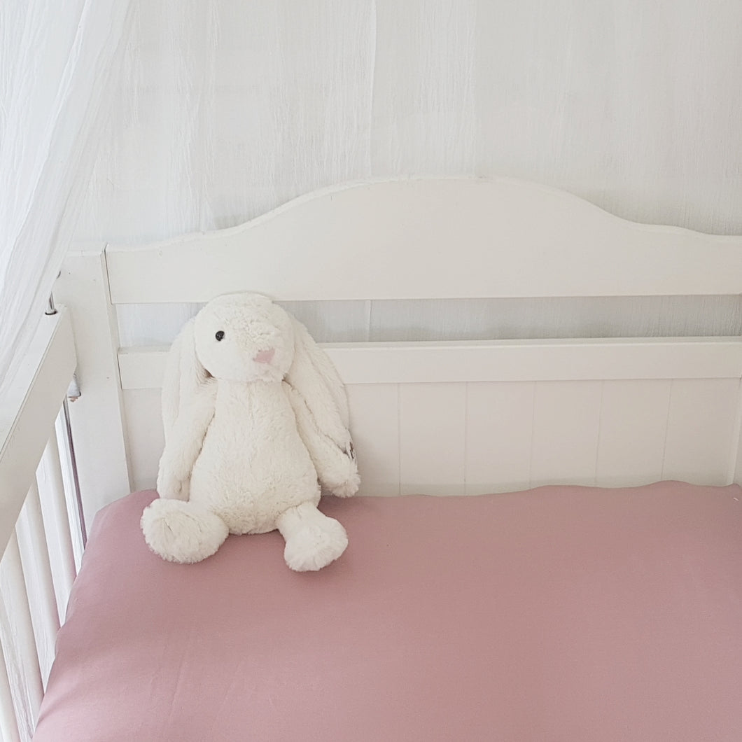 Fitted Cot Sheet - Dusky Pink