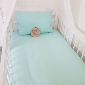 Fitted Cot Sheet - Aqua
