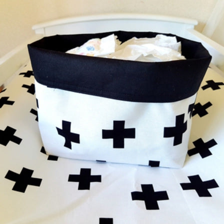 Fabric Basket - Black Cross