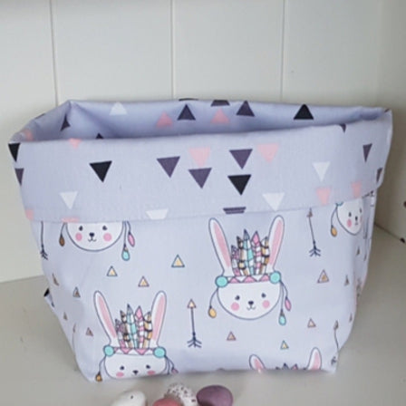 Fabric Basket - Bunnies on Lilac