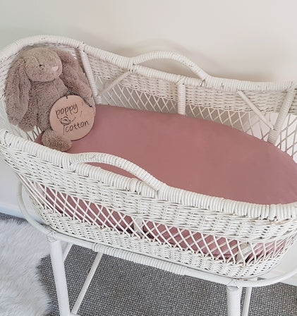 Fitted Bassinet Sheet - Dusky Pink