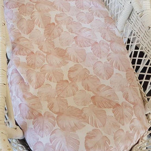 Fitted Moses Basket Sheet - Blush Monstera