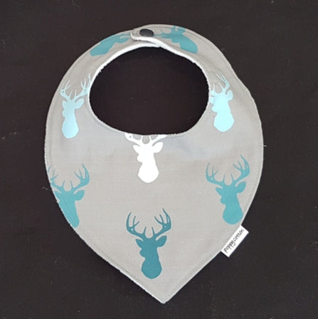 Baby Bib - Stags on Grey