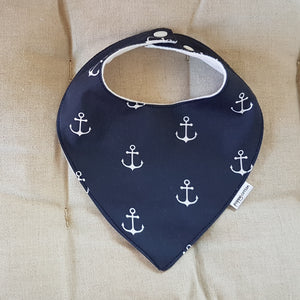 Dribble Bib - Anchors - White on Navy