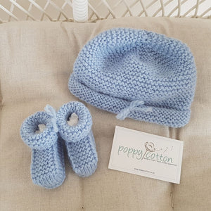 Merino Bootees and Hat Set - Blue