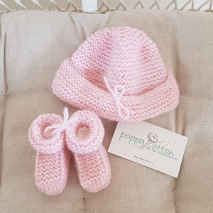 Merino Bootees and Hat Set - Baby Pink