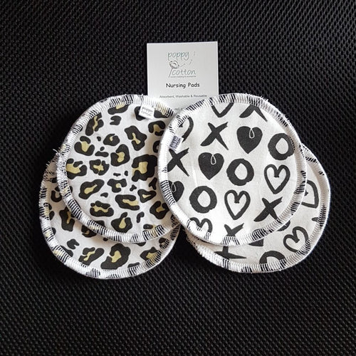 Reusable Nursing Pads - Leopard print and XO Hearts