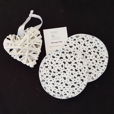 Reusable Nursing Pads ~ Black Hearts
