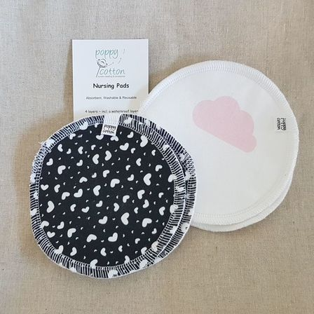 Reusable nursing pads - clouds & hearts - 2 pairs