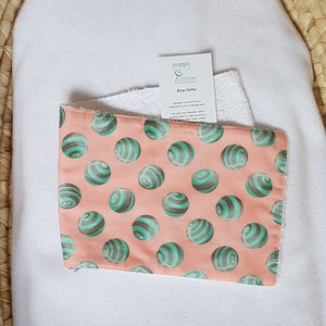 Burp Cloth - Aqua Dots on Peach