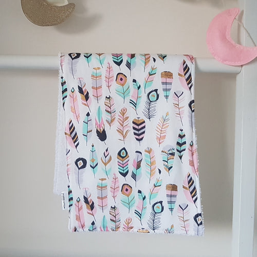 Burp Cloth - Pastel Feathers
