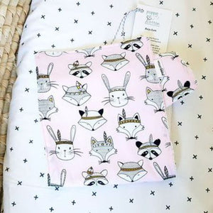 Burp Cloth - Woodland Faces on Pink