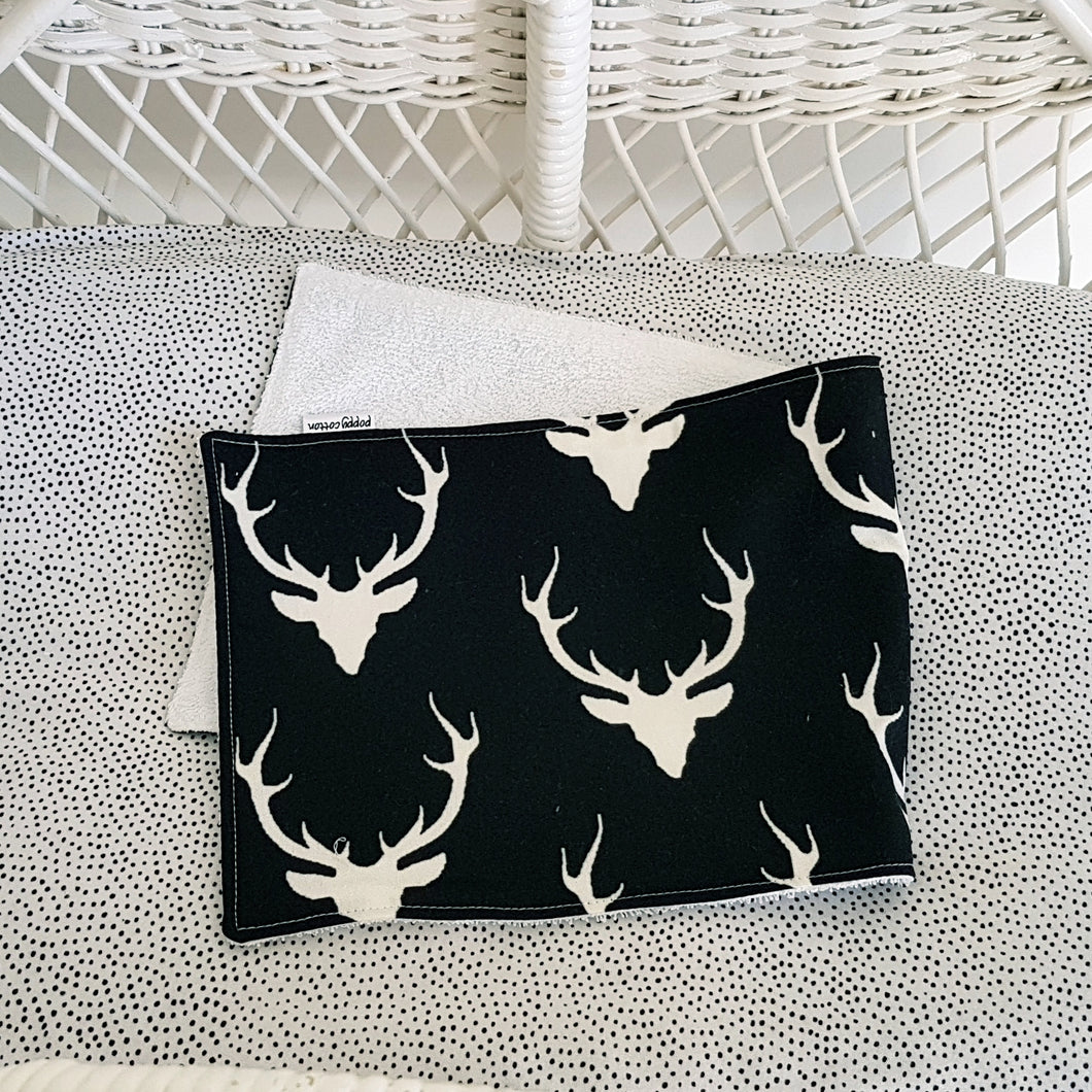 Burp Cloth - Stag heads on black