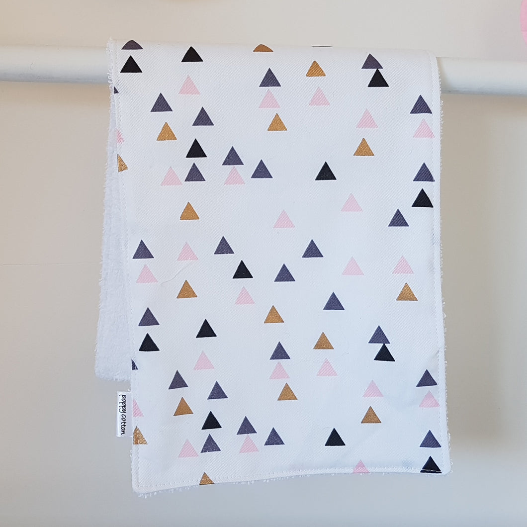 Burp Cloth - Pink & Gold Triangles