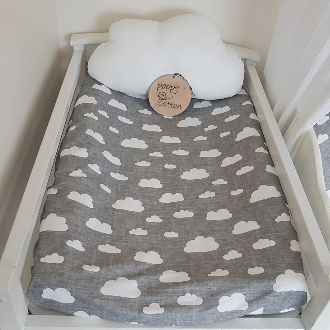 Change Mat Cover / Bassinet Sheet - White Clouds on Grey