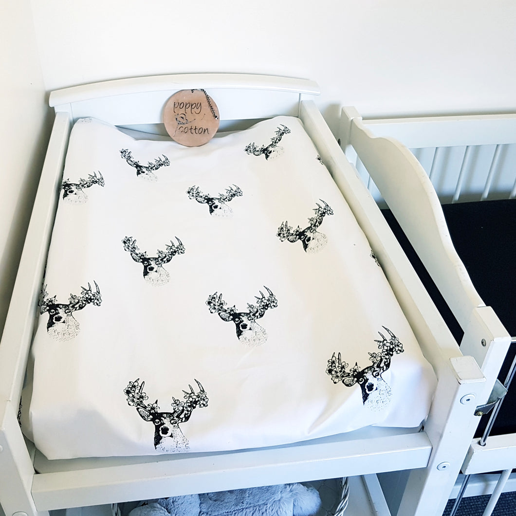 Change Mat Cover / Bassinet Sheet - Black Floral Deer