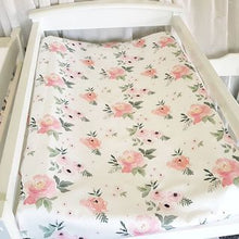 Load image into Gallery viewer, Change Mat Cover / Bassinet Sheet - Blush Roses