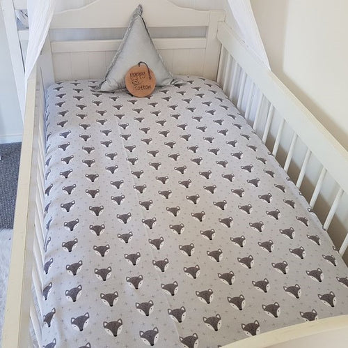 Fitted Cot Sheet - Flannelette -  Fox on Grey