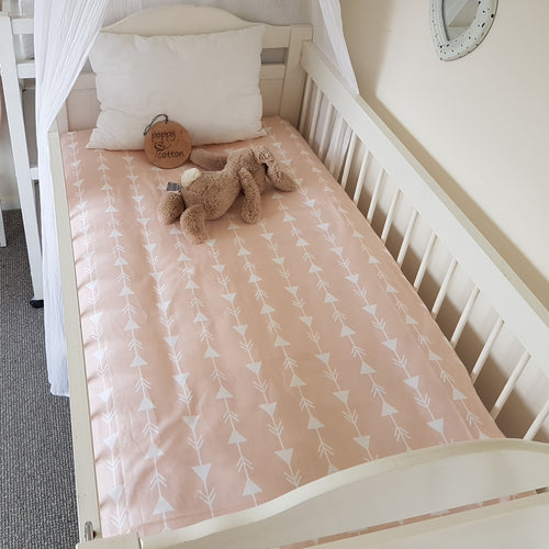 Fitted Cot Sheet - Arrows on Peach