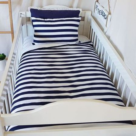 Cot Quilt - Hampton Style Navy and White Stripe