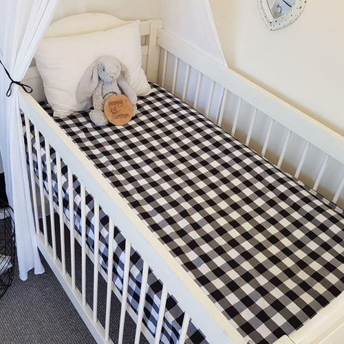 Fitted Cot Sheet - Gingham - Black