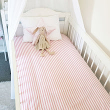 Load image into Gallery viewer, Fitted Cot Sheet - Pink & White Stripes