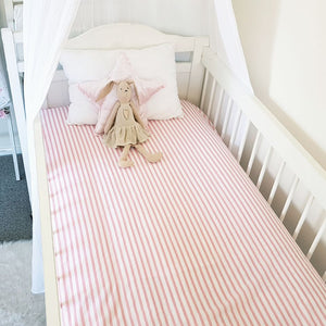 Fitted Cot Sheet - Pink & White Stripes